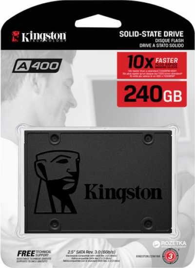 Жесткий диск SSD 240GB Kingston SSDNow A400 SA400S37/240G 500/350 TLC Retail